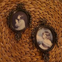 Vintage Pair Brass Ornate Picture Photo Frames  with children made in Italy