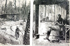 Canada GOLD MINING Log Cabin MENDING SEWING SOCKS 1878 Antique Engraving Matted