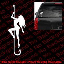 Pole Dance Sexy Girl Die Cut Sticker Stripper Fish On The Hook Vinyl Decal SG001
