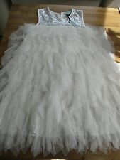 PRETTY DICKENS & JONES WHITE/SEQUIN NET LAYER CAKE PARTY/WEDDING DRESS.AGE 11-12