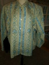 NWT Susan Graver Style Tapestry Jacket 2X  Blue Floral
