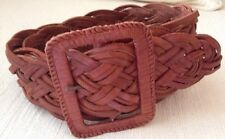 """Abercrombie & Fitch Brown Braided Leather Belt 2 1/4"""" Wide Hippie Boho  M/L NEW"""