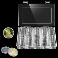 100*30mm Clear Round Coins Capsules Boxes Holder Plastic Storage Collectibles RE