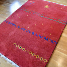 Red Gabbeh Hand-knotted Vintage Traditional Oriental Wool Rug 205 X 140cm