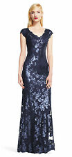 NWT Adrianna Papell Navy Blue Sequin Lace Floral Gown Dress 16 Formal Evening