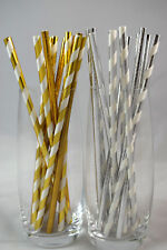 Gold & Silver Foil Paper Straws Metallic Party Decorations Christmas New Years