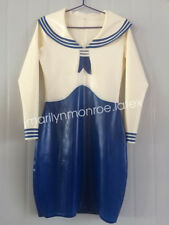 Latex Gummi Rubber Student Navy Blue and White Uniform Skirt Dress Size XXS-XXL