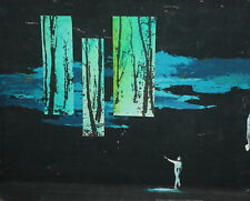 Abstract modernist landscape vintage gouache painting signed