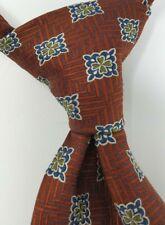 Hickey Freeman Rust Square Medallion Jacquard Woven Italian Silk Tie HandMadeUSA