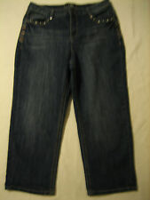 Cato Classic mid-rise cropped studded blue jeans women 12 (waist 34 inseam 22.5)