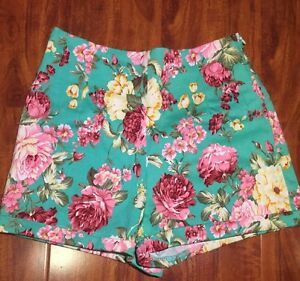 Brandy Melville Turquoise Blue Floral Mini Shorts High Waist Size XS/S