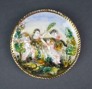 Vintage Italian Capodimonte Nude Cherubs Hand Painted Trinket Dish Wall Plate