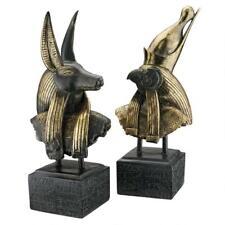 Ancient Egyptian God Anubis & Horus Set of 2 Hieroglyph Plinth Statue Bust