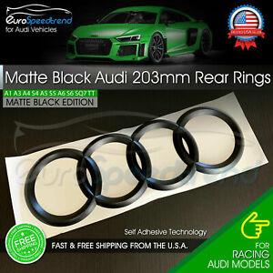 AUDI Rear Rings Matte Black 203mm Trunk Lid Emblem Badge Logo A4 S4 S6 A6 Q3 Q5
