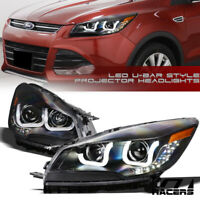 For 2013-2015 Ford Escape Matte Black DRL LED U-Bar Halo Projector Headlights ks