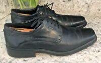 ECCO Mens Black Dress Leather Oxford Lace Shoes Square Toe SIZE EU 42 • US 8