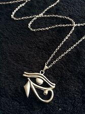"Eye Of Horus Egyptian Necklace Pharoh Rah Egypt God Silver 24"" Protection Charm"