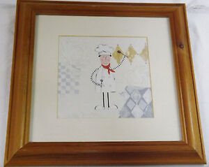Mr Benn Like Cartoon Chef Water Colour Picture Pine Frame Impression Under Glass
