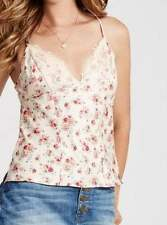 NWT $49.50 GUESS MEDIUM M IVORY MARKET FLORAL LACE TRIM CAMISOLE CAMI TANK TOP