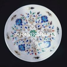 "7"" White Marble Round Plate Serving Plate Floral Inlay Art Home Decor"