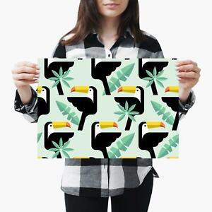 A3| Cool Toucan Cartoon Pattern Birds Size A3 Poster Print Photo Art Gift #3859