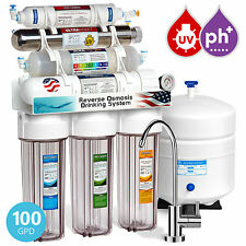 11-Stage Reverse Osmosis Water Filtration System UV Alkaline Clear Housing Gauge