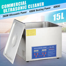 15L Ultrasonic Cleaner Cleaning Equipment Liter Industry Heated W/ Timer Heater