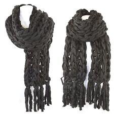 TS Handmade Black Heavy Chunky Sweater Yarn Super Soft Cable Knit Long Scarf