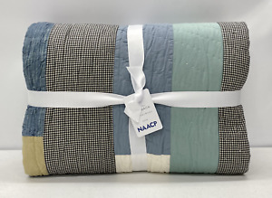 NEW Pottery Barn Gee's Bend - Nellie May Abram's Housetop KING Quilt~Blue Multi