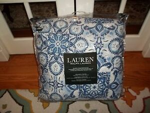 NIP Ralph Lauren Blue White Medallion Floral Queen Comforter Set 4pc