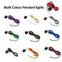 Fabric Flex Cable Plug In Pendant Cord Set 3Core Multi Colour Plug in pendant 4m