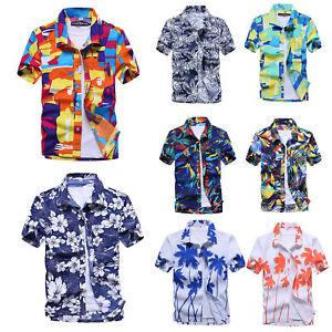 Men's Hawaiian Shirt Pants Summer Floral Printed Beach Shorts Sleeve Tops Tee