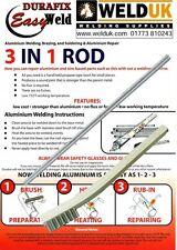 1 x alluminio per saldatura e brasatura basso temperture Durafix Easyweld + PENNELLO E02