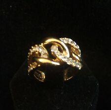 Vintage Kenneth Jay Lane KJL Intertwining Gold Tone Rhinestone Ring