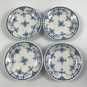 "Antique FURNIVALS LTD ""DENMARK BLUE"" Set of 4 BUTTER PATS - Smooth Rim England"