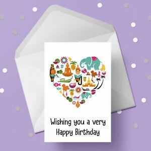 Thailand, Thai Theme Birthday Card - Free 1st class p&p