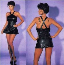 Sexy kurzes Party Mini-Kleid in Leder Optik schwarz