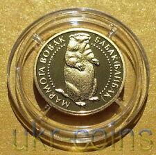 2007 Ukraine 1/25 Oz .9999 Pure Gold Proof Coin Marmot Fauna Rodent Wildlife Wwf