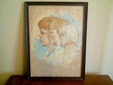 Vtg 1979 Original Pastel/Chalk Sibling Portrait Drawing by Grace Anheuser Busch