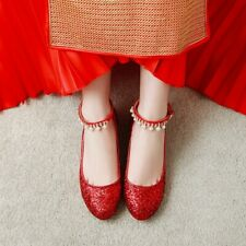 Ladies Girls Sequined Loafers Beads Tassel Wedding Shoes Comfort Dance Flat Size