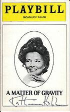 Katharine Hepburn signed A Matter of Gravity Playbill Rare -  Vintage 1976
