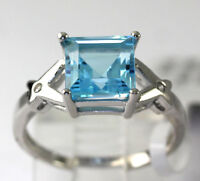 Natural Blue Topaz Sterling Silver Round Cubic Zirconia Band Ring Size 7