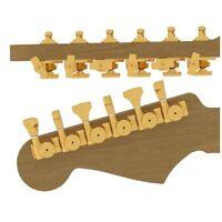 Hipshot Guitar Tuner Upgrade Kit, 6 Inline Grip-Lock Open Bass Staggered - Gold
