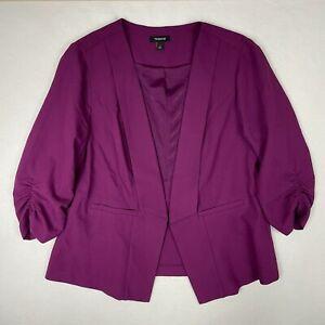 Torrid Ruched Sleeve Open Front Blazer Size 1 Purple Fuschia Career Layering
