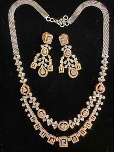 5.46 Cts Round Baguette Cut Diamonds Necklace Earrings Set In 585 Fine 14K Gold