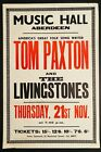 TOM PAXTON and LIVINGSTONES MUSIC HALL ABERDEEN SCOTLAND UK 1968 CONCERT POSTER