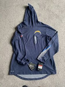 New Nike Los Angeles Chargers Dri-Fit Cotton Hooded Long Sleeve Men Large L