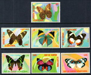 Equatorial Guinea #Mi1025-Mi1031 MNH CV€3.60 Butterflies Schmetterling Mariposa