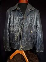 VERY RARE VINTAGE 1960'S AUTHENTIC BLACK HEAVY LEATHER POLICE JACKET SIZE LARGE