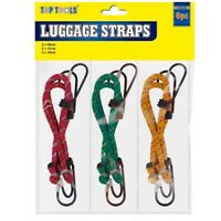 6 x BUNGEE STRAPS CORDS SET WITH HOOKS ELASTICATED ROPE CORD CAR BIKE LUGGAGE